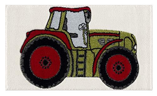 Livone Spielteppich Moderner Teppich Kinderzimmer Kinderteppich Traktor in grün Silber grau rot Weiss Grösse 120 x 180 cm