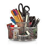 Schreibtisch Ordnungssystem drehbar in grau silber - hochwertiger und großer Stifteköcher aus...