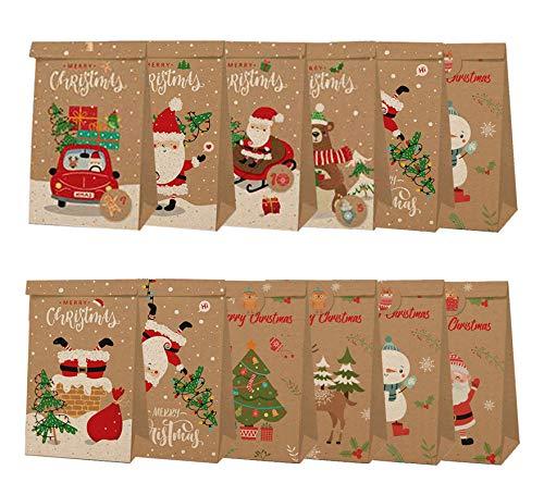 Geiomo Sacchetti Regalo di Natale, Sacchetti Carta Kraft per Caramelle con Adesivi Natalizi per Festa (Pacco da - 12)