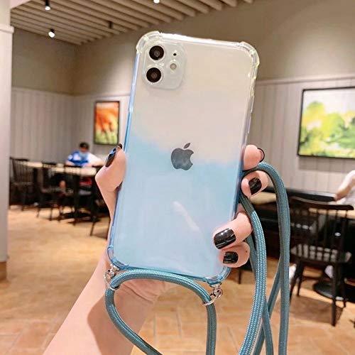 LIUYAWEI Estuche con cordón de Cuerda de Color Degradado para iPhone 11 Pro XS MAX X XR 8 7 6 6S Plus SE 2020 Funda de Bandolera con Correa Colgante para Collar, Azul Transparente, para iPhone XS