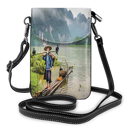 Women Small Cell Phone Purse Crossbody,Traditional Chinese Fisherman With Birds And Basket On River Fog Mountains Trees