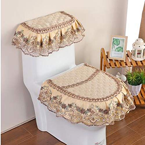 WSHINE Home Decor Pleuche Lace Toilet Accessories Tank Cover + Lid Cover + Toilet Seat Cover, Set of 3 (3)