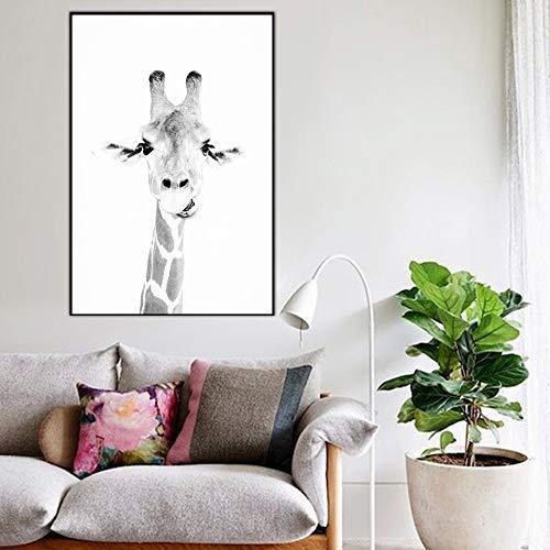 Animal africano lienzo pintura moderna pared imagen sala de lectura mural cebra jirafa decoración del hogar cartel sin marco pintura decorativa Z12 60x80cm