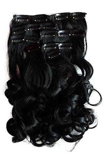 PRETTYSHOP XL 7 Teile Set Clip in Extensions 60cm Haarverlängerung Haarteil gewellt schwarz #1 CE1-1