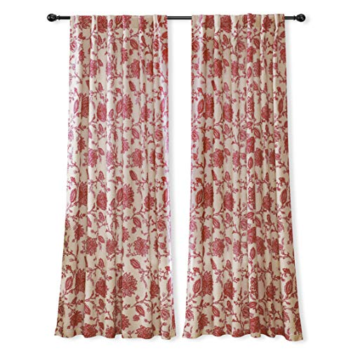 DriftAway Freda Jacobean Floral Linen Blend Lined Thermal Insulated Blackout Room Darkening Back Tabs Window Curtains 2 Layers 2 Panels Each 52 Inch by 84 Inch Red Beige
