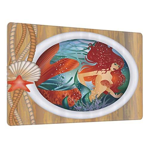 Alfombrilla de ratón para Juegos,Sirena en Ventana de Ojo de Buey Aquatic Cockleshell Mitología Yate Imagen,Escritura de Escritorio Impermeable de Goma Antideslizante para Oficina y hogar 800×300×3mm