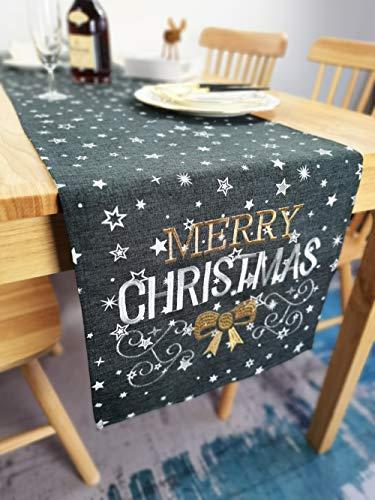 Lifestyle Tischläufer Weihnachten | Hochwertige Tischdecke, dunkelgrau in schicker Farbkombination | Weihnachtsdeko Tisch Sterne Merry Christmas Elegance | Fleckschutz und abwaschbar (40x140 cm)