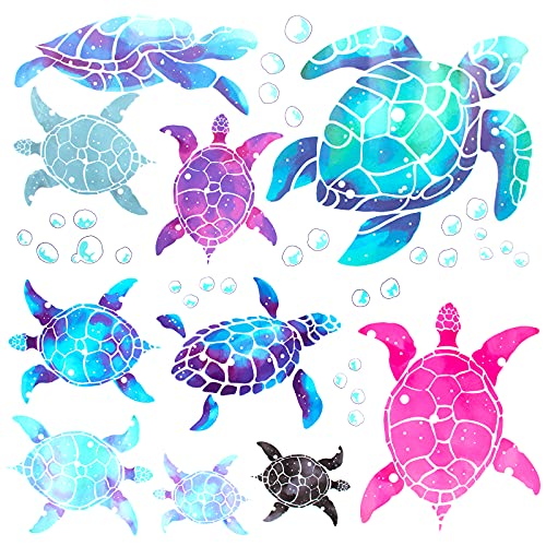 Xijuer Sea Turtle Wall Decals Stickers, 10PCS Vinyl Wall Stickers Decoration, Sea Turtle Wall Decals for Boys Girls Bedroom Living Room Bathroom Office Home
