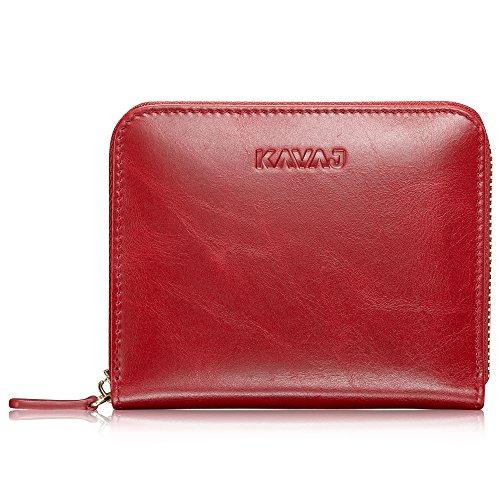 KAVAJ Damen Geldbörse Portemonnaie Leder Paris Rot mit RFID Schutz. Portmonee Geldbeutel Brieftasche Kurz Klein aus Echtleder für Frauen