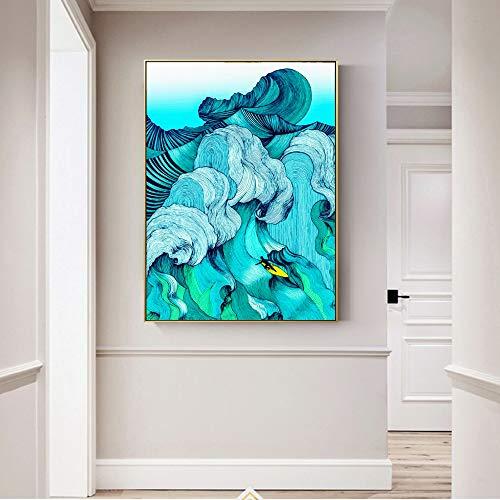 Geiqianjiumai Frameloos schilderij van de abstracte uitgang-decoratie op zeildoekhanghai-golfdrukwandkunst-woonkamerafbeelding