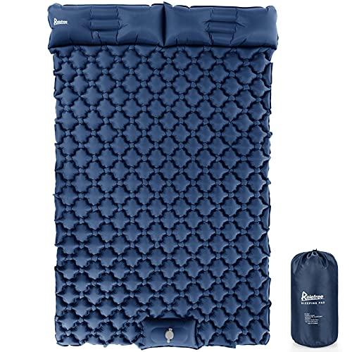 Isomatte Outdoor 2 Personen Relefree,Selbstaufblasbare mit Fußpresse Pumpe,Wasserdicht Luftmatratze,Kommt mit Ohrstöpseln 205*120*6cm(Navy blau)