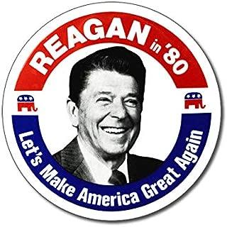 American Vinyl Round Vintage Reagan in '80 Sticker (MAGA 1980 Election Political Logo)