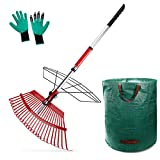"Topmart Leaf Rake Telescoping 38""- 56"",21"" Wide 25 Tines Shrub Rake,Stainless Steel Garden Rake Adjustable,with 72 Gallon Reusable Garden Bags and Garden Gloves,Suitable for Garden, Farm and Lawn"