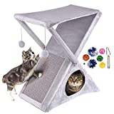 Ruff 'n Ruffus Foldable Cat Tower Tree + Free Bonus Handheld Chase Toy + 6 Cat Toys   Plush Folding House with Hammock   Condo   Scratching Pad & Post   & Play Balls   for Kittens   Medium & Large Cat