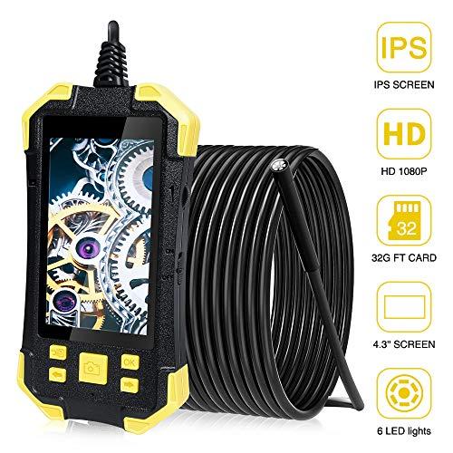 PiAEK Endoscope Industriel 4,3'' IPS Écran Numérique Camera Endoscopique 1080P HD 5.5mm IP67 Étanche...