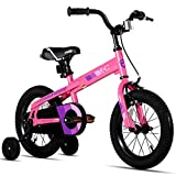 JOYSTAR 18 Inch Kids Bike with Training Wheels for Ages 6 7 8 9 Years Old Boys and Girls, Children Bicycle with Handbrake for Early Rider, Pink