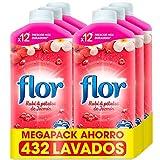 Flor - Suavizante para la Ropa Concentrado, Aroma Rubí y Pétalos de Jazmín - Pack de 6, hasta 432 dosis