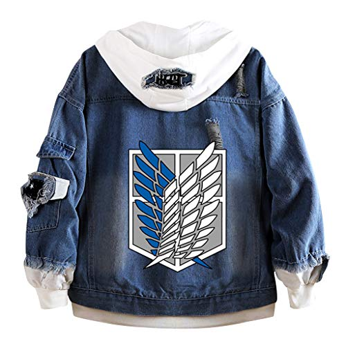 Attack On Titan Giacca di Jeans, Unisex 3D Shingeki No Kyojin Scout Regiment Wings of Liberty Badge Anime Cosplay Denim Jacket Felpa con Cappuccio Hoodie Cappuccio per Uomo Donna (Lys,M)