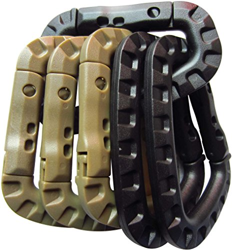 Tactical Carabiner Keychain - Hard Polymer Carabiners Climbing D Rings Light Weight Spring Snap Gear Clip Utility Hooks Backpack Hanging Buckle for Camping Hiking Fishing (Black&Khaki, 6PCS)