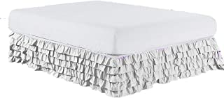 Meraki ! Waterfall Style Multi Ruffled Bed Skirt with 18 Inch Drop Length (Twin XL Size, Solid Pure White) - 1500 Series Brushed Microfiber Dust Ruffle