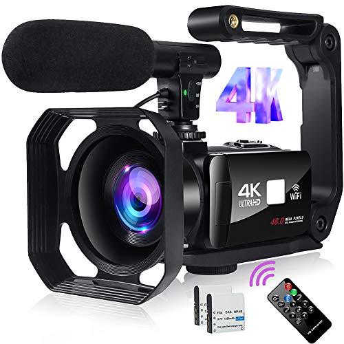 Videocamara Digital 4K Videocámara 48MP Image Camaras Digitales con WiFi Camara de Video con Micrófono, Zoom Digital 18X, Pantalla Táctil de 3'y Control Remoto