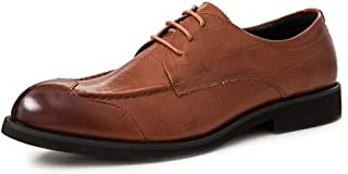 PengCheng Pang Classic Oxford for Men Grid Embossed Dress Shoes Lace up Genuine Leather Stitch Burnished Style Rubber Sole Pointed Toe Patchwork (Color : Brown, Size : 5.5 UK)