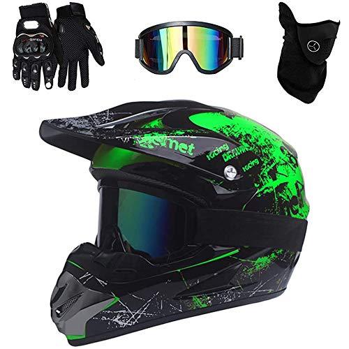 SHANREN Motocross Helm, Adult Off Road Helm Dirt Bike ATV Motorradhelm Cross Helme mit Handschuhe Maske Brille, für Mountainbike Moped Bergbuggy Sport Männer Damen Sicherheit Schutz,L