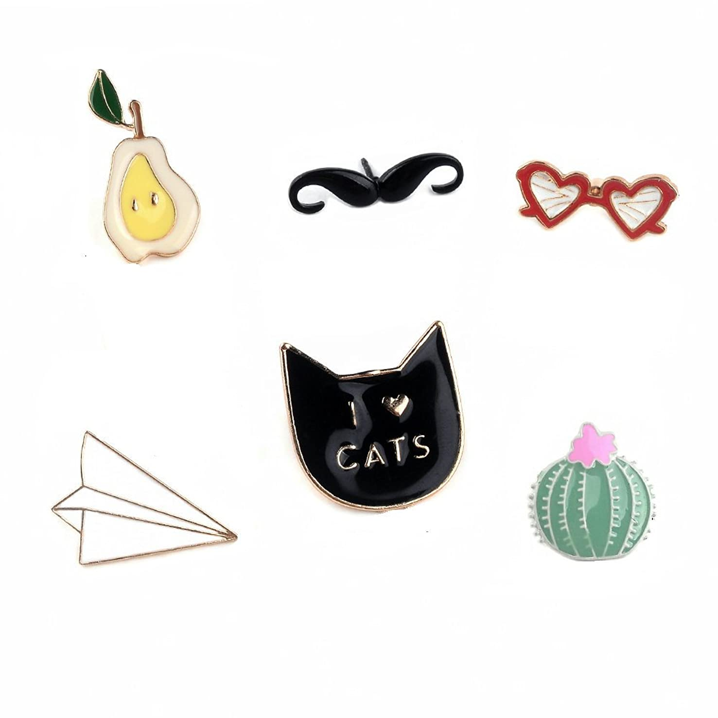 Herinos Cartoon Badges 6Pcs Lovely Lapel Enamel Pins Set Christmas Brooch Pear Beard Eyeglasses Origami Cat Cactus