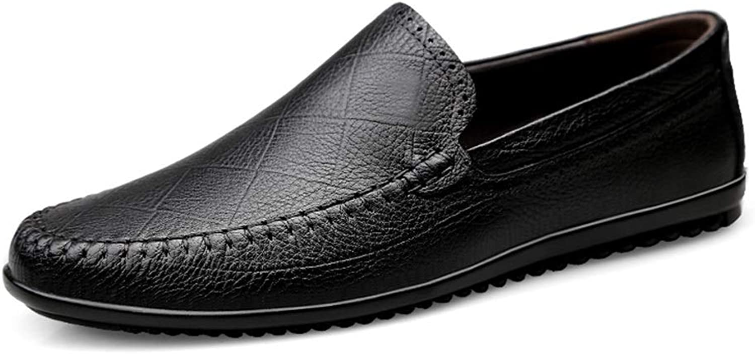 MUMUWU Men's Oxford shoes Fashion Driving Loafers Casual Leather Flexible Personality Texture (color   Black, Size   10.5 D(M) US)