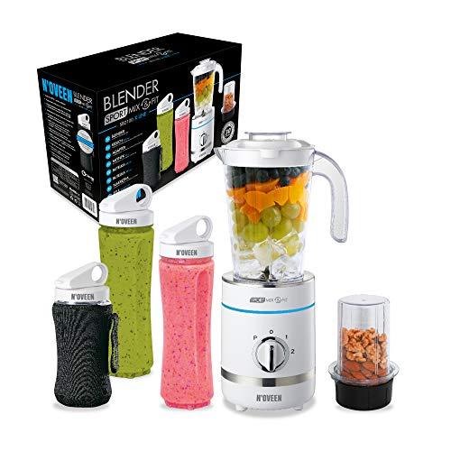 N'OVEEN Fitness Mixer Smoothie Maker, Standmixer, 500 Watt Multifunktions Sport Mixer – vitaminreiche und leckere Snacks für Sportler, 6-armige Klinge, 3 BPA-freie, 2x 600 ml & 300 ml (Weiß)