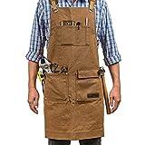 Delantal de trabajo unisex de lona encerada resistente con 5 bolsillos, delantal ajustable para los ingenieros, carpintero, manualidades, para cocina, jardín, cerámica, taller de manualidades, garaje