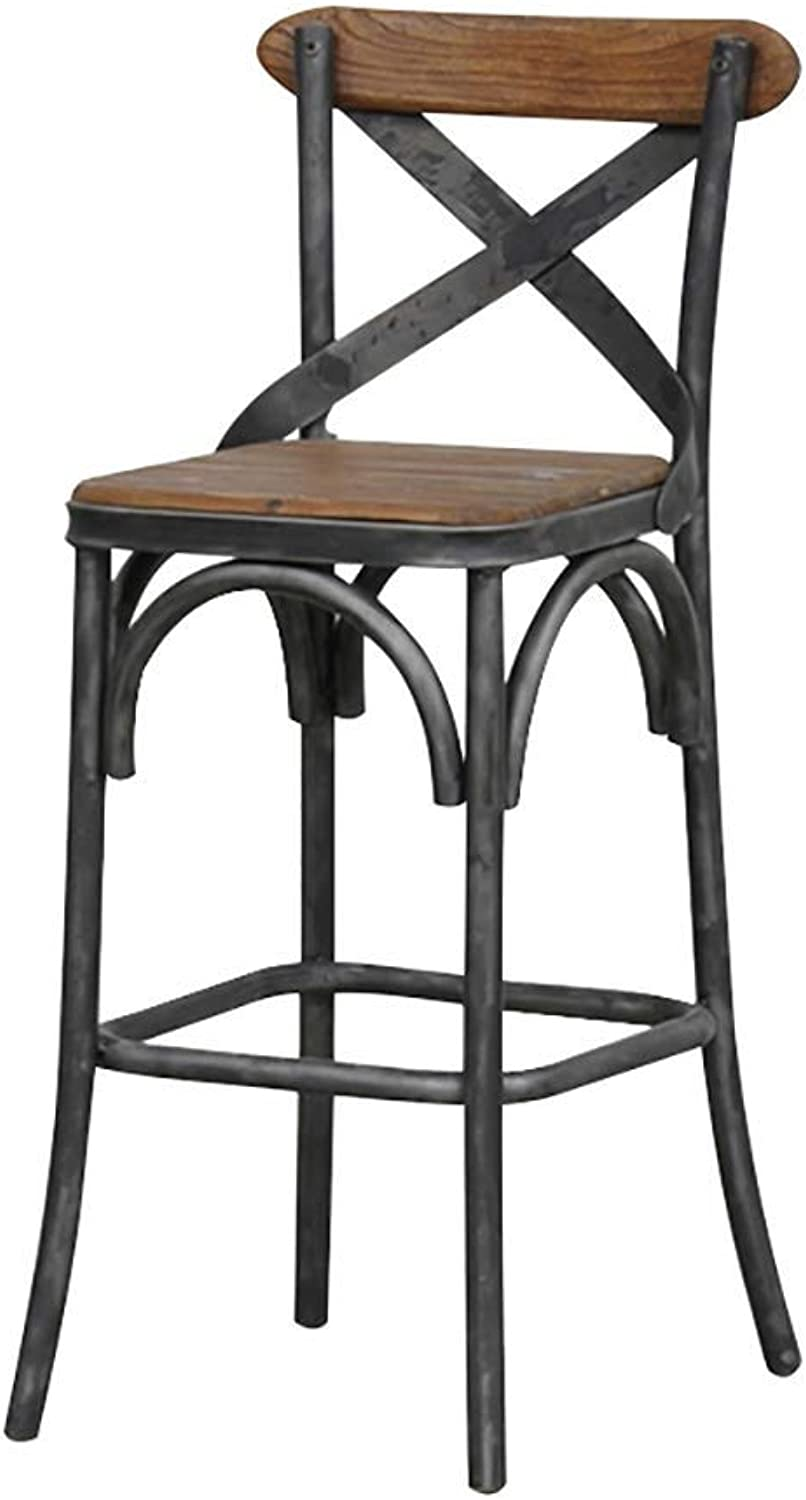 Vintage Bar Stool, Antique Solid Wood Dining Chair Industrial Style Furniture Metal Frame High Chair Reception Chair, for Kitchen, Restaurant, Counter, Shopping Mall, Bar, Cafe