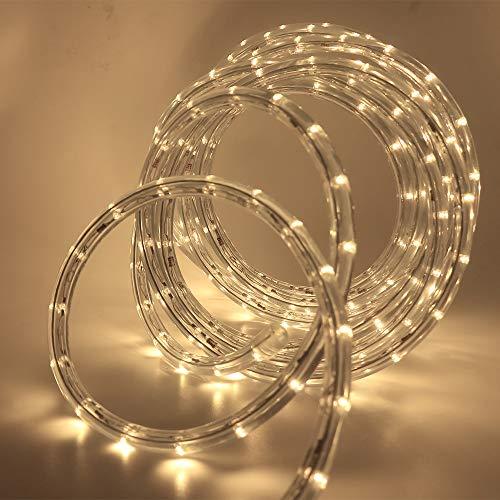 XUNATA 220V-240V LED Lichterschlauch Licht Leiste 36LEDs/m IP65 Wasserdicht Schlauch Seil Lichter für Innen Außen Garten Party Weihnachten Deko(Warmweiß,5M)