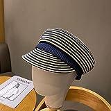 Lamcomt 202101-shi New Spring Summer Fine Paper Hierba Tejido Rayado Ocio Octagonal Hat Men Mujeres Viseras Cap (Color : Azul, Hat Size : One Size)