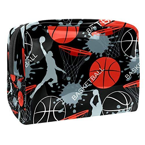 Bolsa de maquillaje de PVC para mujer y niña cosmética neceser organizador bolsa 7.3 x 3 x 5.1 pulgadas, calavera y rosas