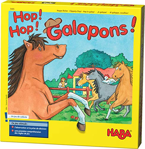 HABA - Hop ! Hop ! Galopons ! - 5445 - Jeu de chevaux - Jeu de société - 3 ans et plus