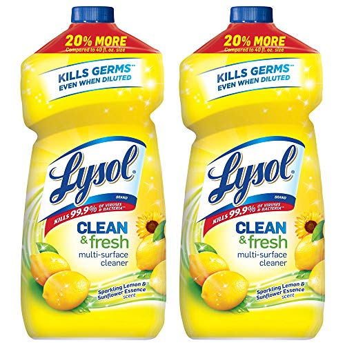 Lysol Clean and Fresh Multi-Surface Cleaner, Lemon Sunflower Scent, 48 oz (Pack of 2)