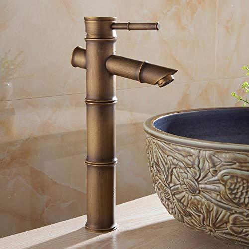 Cuenca del grifo de latón Antqiue bambú baño cascada grifo del fregadero sola palanca cubierta de la bañera WC mezclador agua del grifo WC Taps ZLY-6660, antiguo