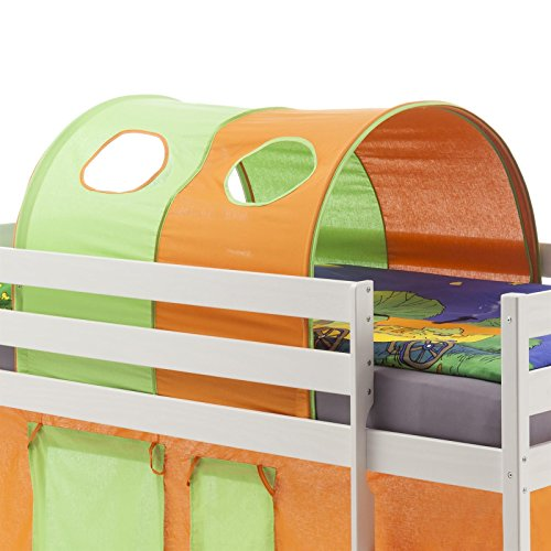 IDIMEX Tunnel MAX für Hochbett Rutschbett Spielbett Kinderbett, in grün/orange