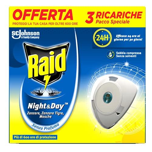 Raid Night & Day Ricarica, Antizanzare Elettrico, Repellente Zanzare Inodore a Sabbia Compressa, Confezione da 3 Ricariche