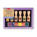 Melissa & Doug- Happy Handles Sellos con Mango de Madera, Multicolor (12407)