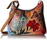 Anna by Anuschka Unisex-Erwachsene, Handpainted Leather Large Hobo, Peacock Butterfly Umhänge-Handtasche, Pfau Schmetterling, Einheitsgröße