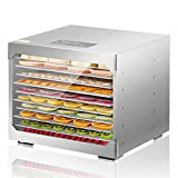 ROVSUN 10-Trays Food Dehydrator, Stainless Steel Food Dryer with Digital Timer and Temperature Control, for Beef Jerky Herb Fruit Vegetable Commercial or Home Use, BPA Free ETL Listed, 800W