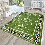 TT Home Alfombra para habitación infantil, de pelo corto, diseño moderno multicolor con campo de fútbol verde, 80 x 150 cm