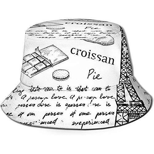 Fischerkappe, traditionelle berühmte Pariser Elemente Bonjour Croissan Kaffee Eiffelturm-Druck, Reisestrandhut
