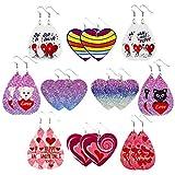 TShopm - 10 paia di orecchini in pelle per San Valentino, con stampa a forma di cuore, in finta...
