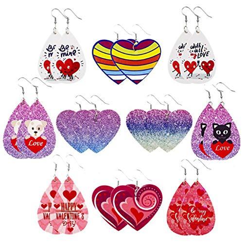 Oyrcvweuy Juego de 10 pares de pendientes de cuero para el día de San Valentín con forma de corazón