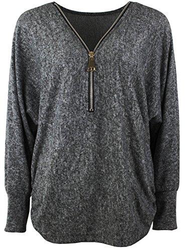 Emma & Giovanni - Damen - Langarmshirt - Pullover - Top & Shirt (XL/XXL, Ärmel - Schwarz)