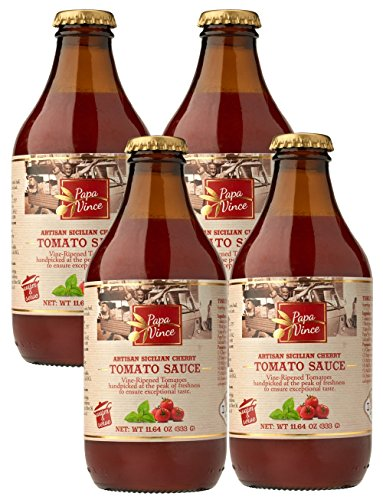 Papa Vince Pasta Tomato Sauce - no onion no garlic no sugar added | low acid for sensitive stomach | glass canned | no coloring no preservative no additive | fresh from Sicily Italy 11.6 oz (4-Pack)
