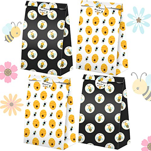 Bumble Bee Goodie Bags-24 Pcs Honey Bee Party Candy Favor Bags with Stickers, Honey Bee Goody Gift Treat Bags Bumble Bee Themed Birthday Party Supplies